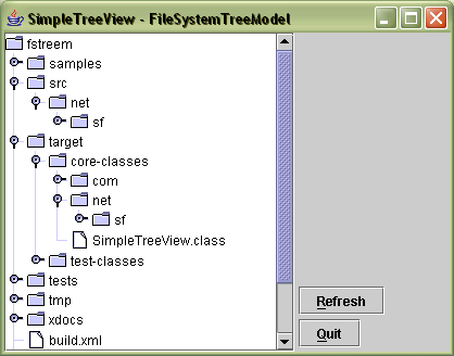Screenshot of SimpleTreeView - the sample that comes with the library